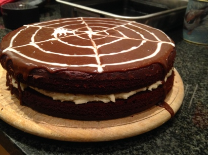 Halloween bake – chocolate sponge sandwiched together with white chocolate buttercream filling