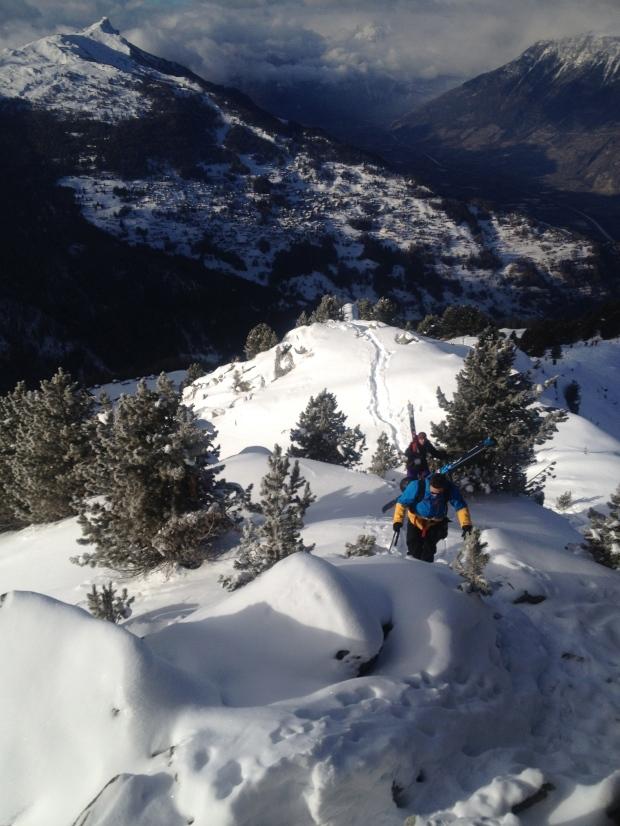 Jamie and Sandro trekking up along the ridge