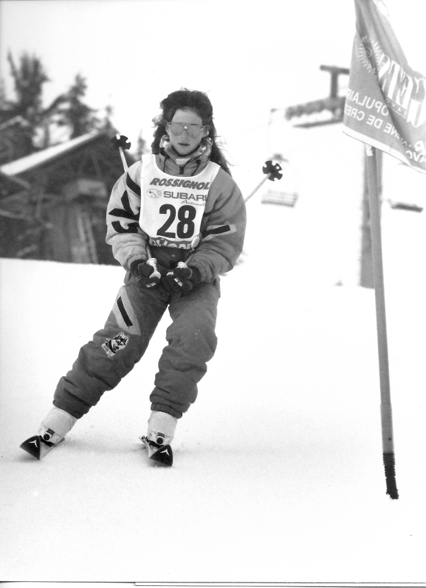 This is my favourite photo. The glasses, the loose hair, the outfit, the kit, the 'tuck', the inside ski, the outside ski...