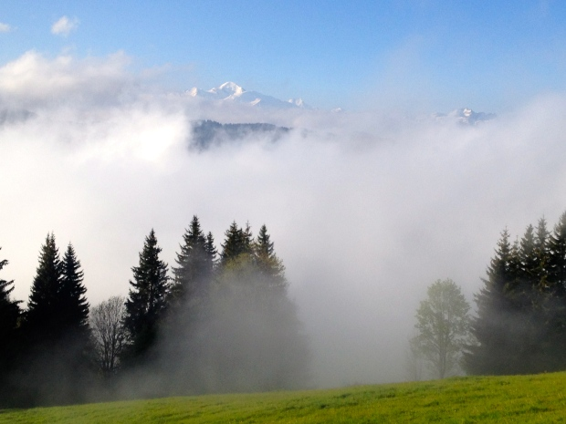 Mont Blanc poking out of the mist