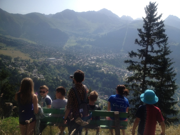 Our students on a walk to Saint Christophe looking over to Verbier. Describing nature was the topic of the morning.