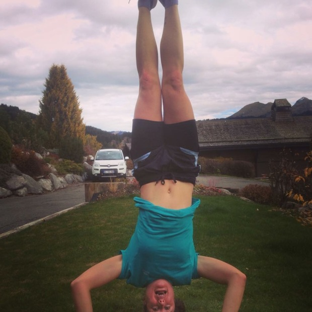 Headstand practice. My face says it all - it's a work in progress.