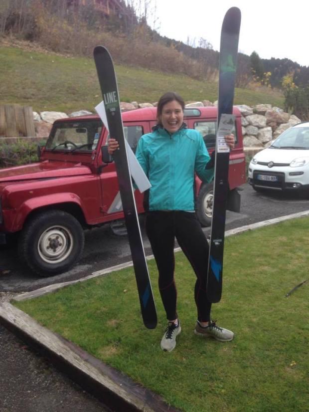Big smile for big skis.