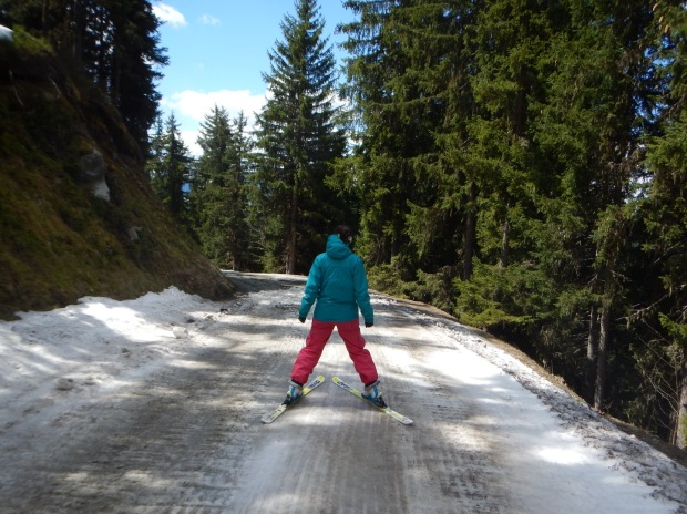 No poles. Old kit. No snow. Some great end of season skiing.