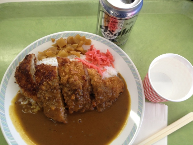Pork cutlet with rice, ginger and pickles with a beer - great post ski lunch!